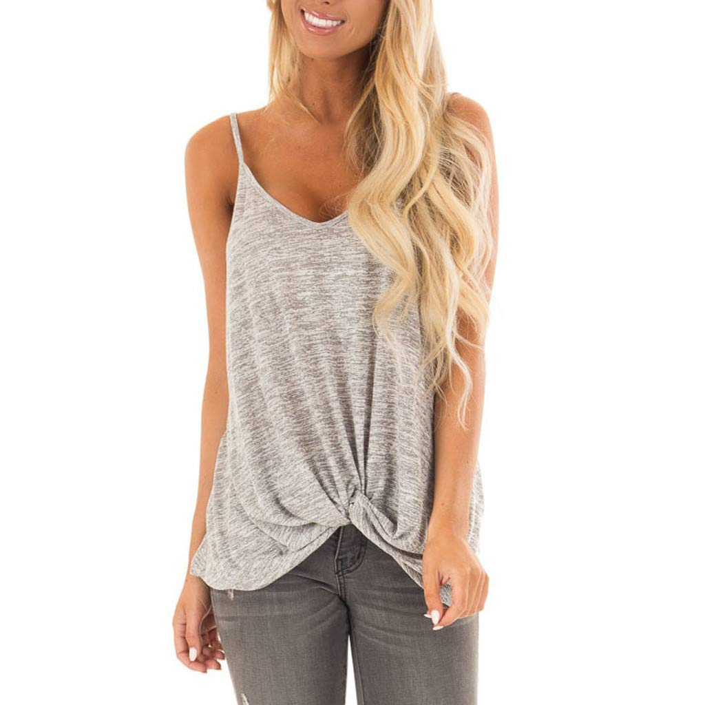 Womens Shirts VANSOON Teen Girls Sleeveless Knotted Tank Top Pure Casual Blouse Vest Shirts Gray