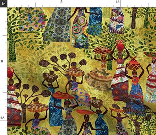 Spoonflower Folklore Fabric - African Inspired Art Global Folklore Quilting Tribal Ceremony Mythical Dancing Bohemian African by Mimipinto Printed on Petal Signature Cotton Fabric by The Yard ()