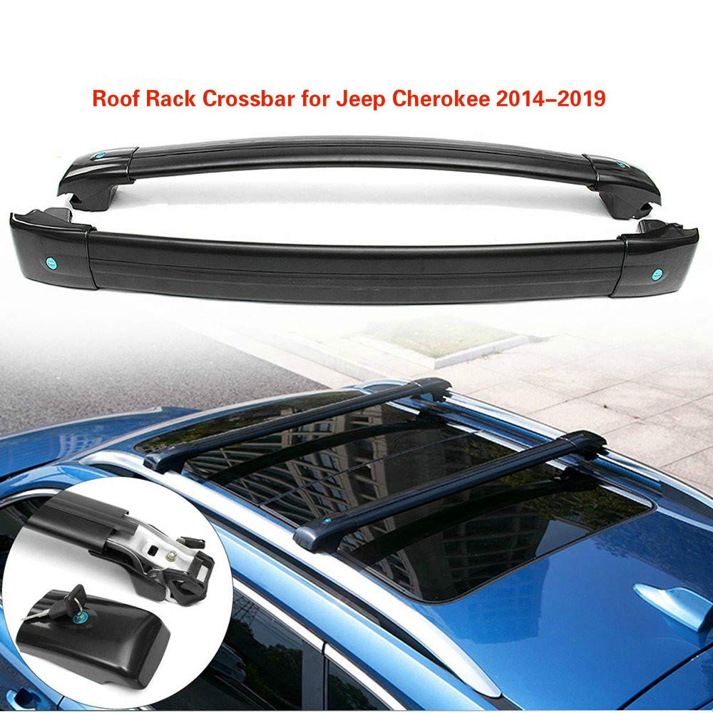 MotorFansClub Lockable Luggage Carrier Top Roof Rack Cross Bar for Jeep Cherokee 2014-2017 Black