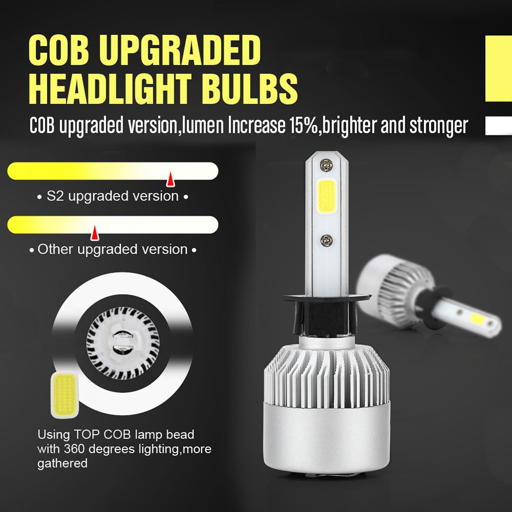 Amazon.com: Auto Car Headlight - Pack of 2 COB LED, 40W 10000LM All In One Car LED Headlights Bulb Fog Light, White 6000K Head Lamp H1 H4 H7 H8 H9 H10 H11 ...