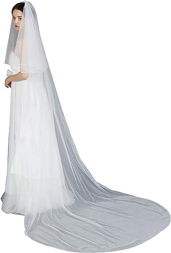 Illusion Veil Lace Edge Veil in Ivory or White Bridal Veil