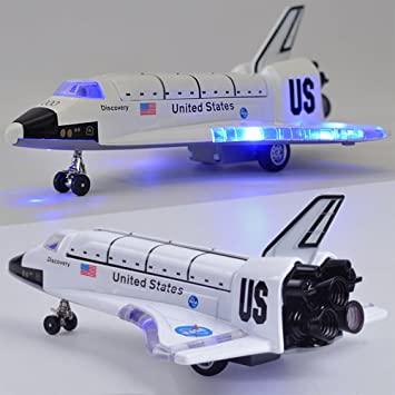 Leoie 8 Inch Alloy Force Control Space Shuttle Model with Light & Sound Toy Plane Gift for Children