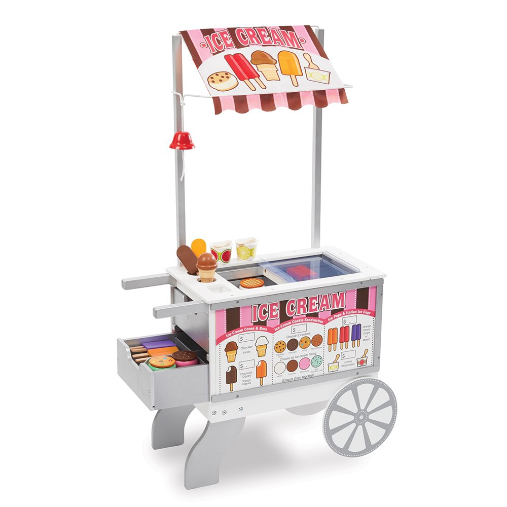"Melissa & Doug Wooden Snacks & Sweets Food Cart, Play Sets & Kitchens, Reversible Awning, 40+ Play Food Pieces, 49"" H x 25.5"" W x 13.5"" L"