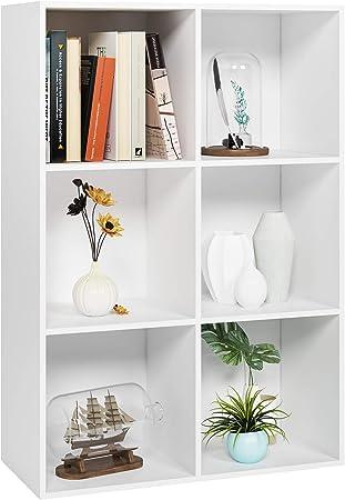 Oferta amazon: Homfa Estantería Librería Estantería para Libros Estantería de Pared Estantería Almacenaje con 6 Compartimentos Blanco 65.5x29.5x97cm