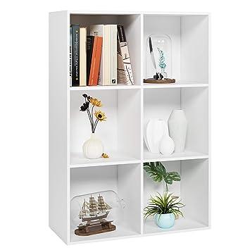 Homfa Estantería Librería Estantería para Libros Estantería de Pared Estantería Almacenaje con 6 Compartimentos Blanco 65.5x29.5x97cm: Amazon.es: Hogar
