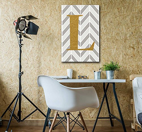 The Letter L in Gold Leaf Effect on Geometric Background Hip Young Art Decor