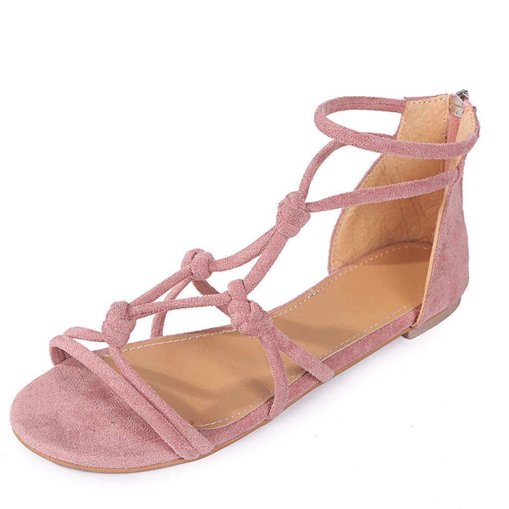 Thenxin Women's Summer Ankle Strap Flat Sandals Ladies Casual Beach Roman Shoes (Pink,7 US)