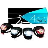 Lampe de Vélo Avant et Arrière, SGODDE Set D'éclairage Phare et Feu Arrière Puissant avec 2*Rouge+2*Blanc LED Lumière Vélo Impermeable pour VTT VTC Cyclisme Poussette Camping Course