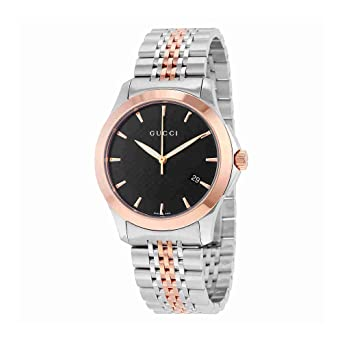 3fef14c5cef Image Unavailable. Image not available for. Color  Gucci Men s YA126410 Gucci  Timeless Steel and Pink PVD Black Dial Watch