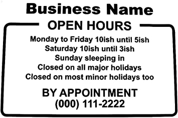Glass Door Sign 10.5x13.5 Easy Install Manual Free Squeegee Custom Business Hours Window Decal 10.5 x 13.5 Frame Design-Vinyl Custom Lettering