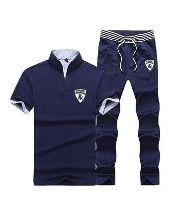DianShao Hombre Casual Deporte Chándal Manga Corta Camiseta ...