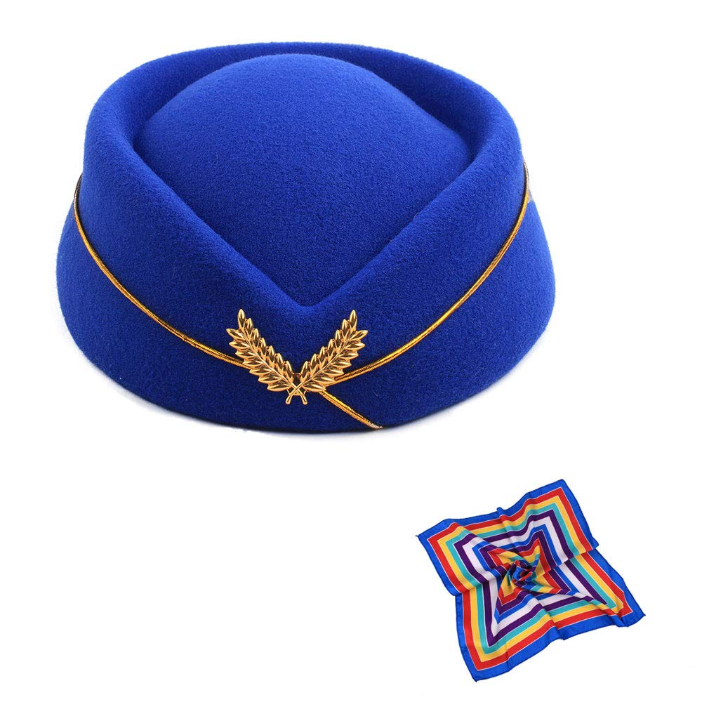 TDAICHAN Wool Felt Stewardess Hat Cosplay Cap-Flight Attendant Gorra for Costume Accessories Beret (Blue with Silk)