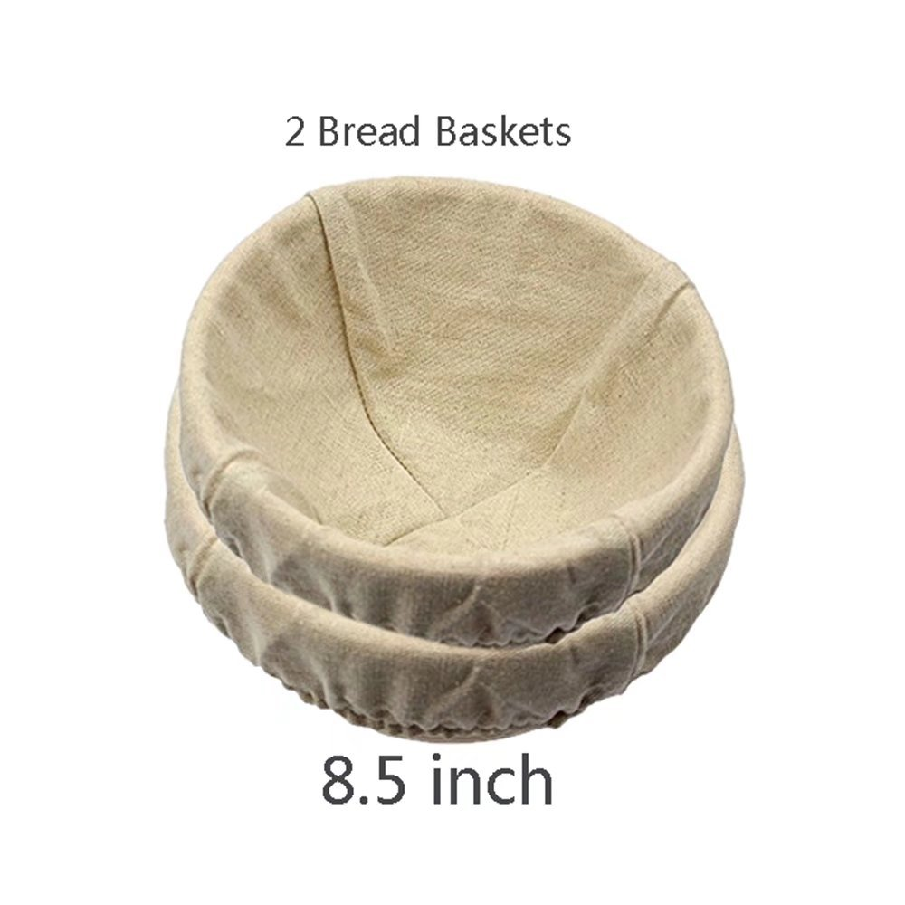 2 pack of 8.5 Inch Round Brotform Banneton Proofing Baskets Bread Bowl for Baking Dough with Rising Pattern (Bonus Linen Cover)