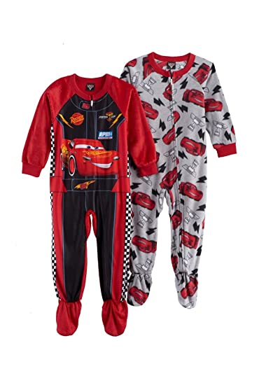 08d25687e Amazon.com  AME Pixar Cars 3 Lightening McQueen Fleece Footed Pajama ...