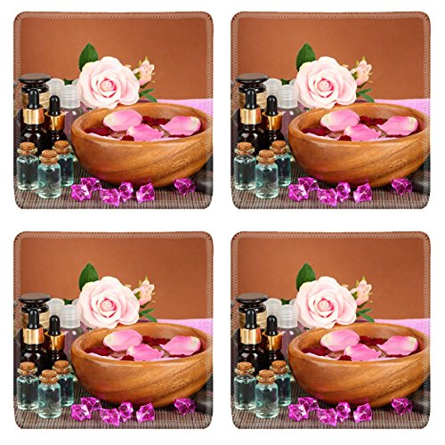 MSD Square Coasters Non-Slip Natural Rubber Desk Coasters design 19764017 Spa composition with aroma oils on brown background by MSD
