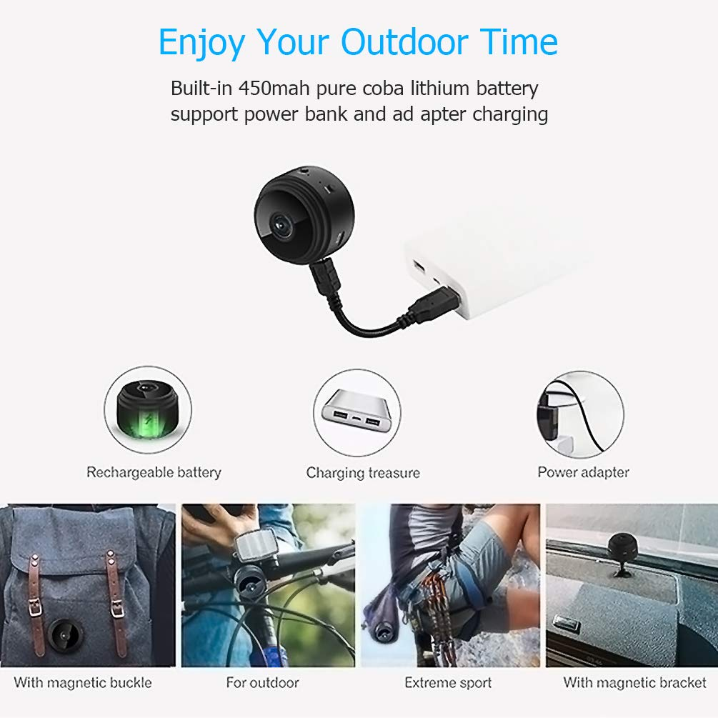Hidden Camera Mini Spy Camera Wireless HD 1080P Mini Hidden Camera Portable Home Security Cameras Nanny Cam with Motion Detection and Night Vision(2019 Update) by Techworld Collections (Image #2)