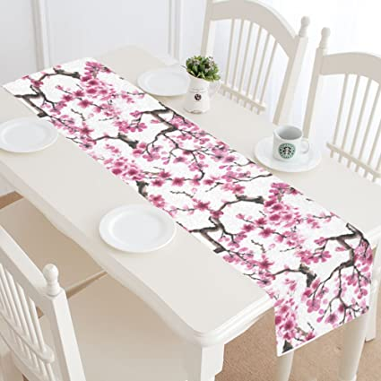 InterestPrint Flower Japanese Sakura Table Runner Home Decor 14 X 72 Inch, Japan Cherry Blossom