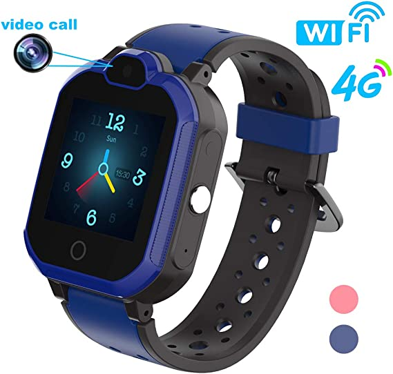 HuaWise 4G Kids Smartwatch/Kids GPS Waterproof Smartwatch/WiFi Call,Video Chat, Real-time Position, Geo-Fence Touch Screen Camera SOS Alarm Anti-Lost ...