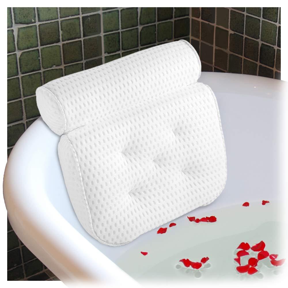 Ecooe Comfort Cuscino da bagno Cuscino per vasca da bagno Cuscino per luxury Spa Bianco con 5 Potenti Ventose e Maglia Grossa Cuscino Soft Neck Supporto Spalle Spalle Collo Antiscivolo Adatto a Vasche di Qualsiasi Dimensione