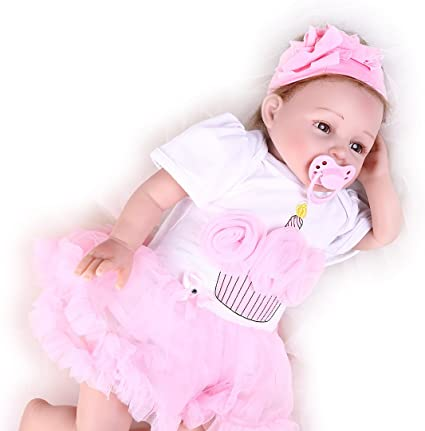 "22/""Reborn Baby Doll Newborn Lifelike Dolls Handmade Soft Silicone Vinyl Girl"
