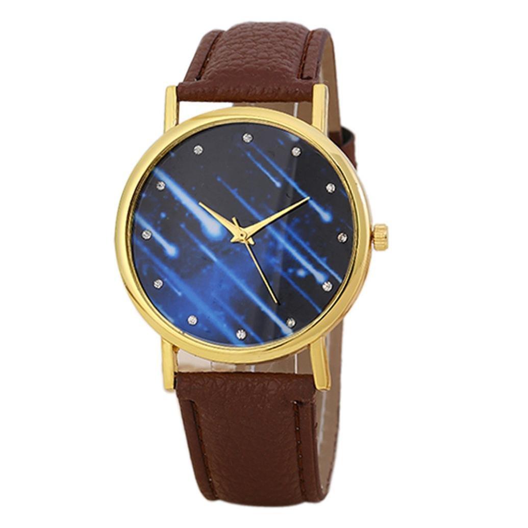 Mandy 2016 Leather Band Analog Quartz Wrist Watch Brown