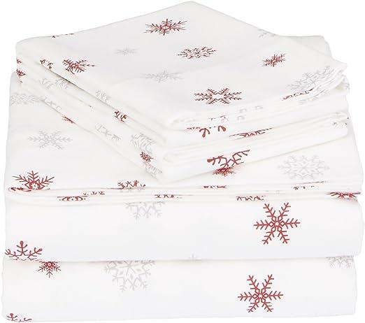Amazon Com Pinzon Cotton Flannel Bed Sheet Set Twin Xl Falling Snowflake Merlot Home Kitchen