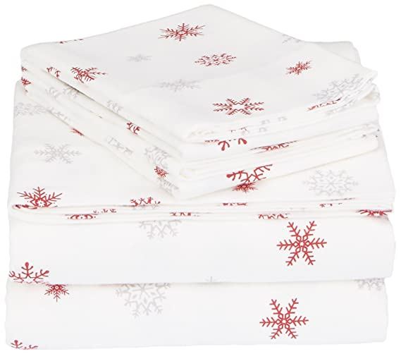 Pinzon Cotton Flannel Bed Sheet Set - Full, Falling Snowflake Merlot best full-sized flannel sheets