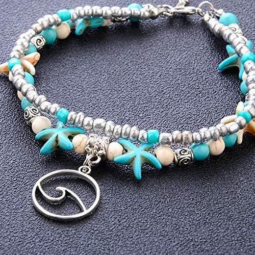 Florance Jones Women Retro Boho Starfish Waves Beads Anklets Charms Beach Foot Chain Bracelet Model BRCLT 1878