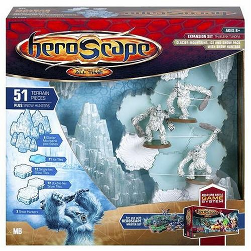 Heroscape Game System Expansion Set: Thaelenk Tundra Glacier Mountains, Ice and Snow Pack with Snow Hunters (Heroscape Master)