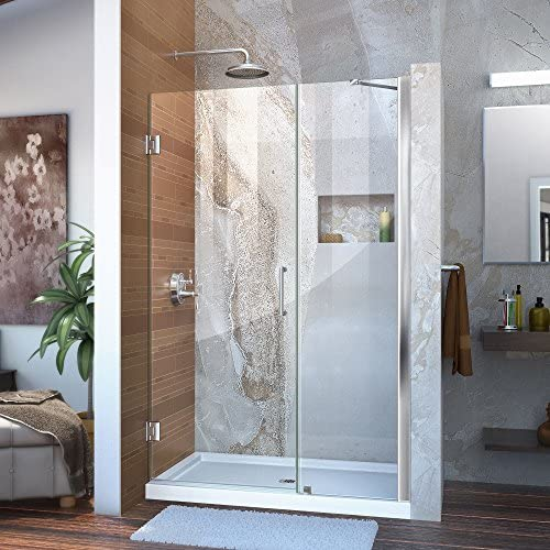 DreamLine Unidoor Min 48 in. to Max 49 in. Frameless Hinged Shower Door in Chrome finish, SHDR-20487210-01