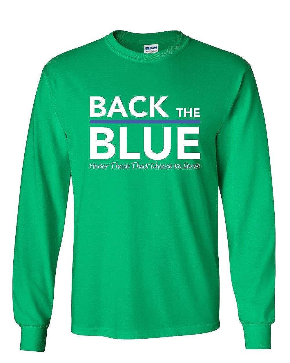 Back The Blue Long Sleeve T-Shirt Thin Blue Line Honor Police Heroic Service Tee