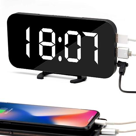 Souleader Despertadores Digitales LED Despertador Electrónico, Espejo Reloj Digital Moderno con Función de Alarma y