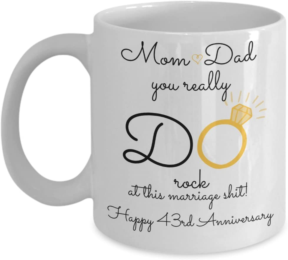 Amazon Com 43rd Wedding Anniversary Gift For Parents Mom And Dad Best Happy 43 Rd Yr Forty Three Forty Third Year Unique Fun Ideas From Kids Son Daughter Cof Kitchen Dining