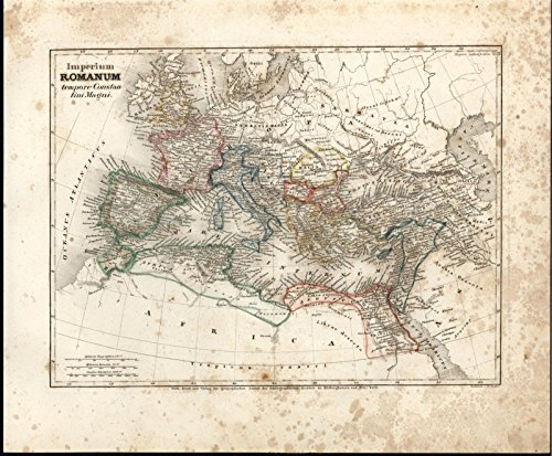 Imperium Romanum Ancient Rome c.1850 Meyer scarce detailed antique map