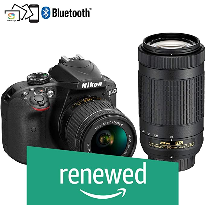 Renewed  Nikon D3400 Digital Camera Kit  Black  with Lens AF P DX Nikkor 18 55mm, 70 300mm f/4.5 6.3G ED VR Lens, 16  GB Class 10 SD Card and DSLR Bag