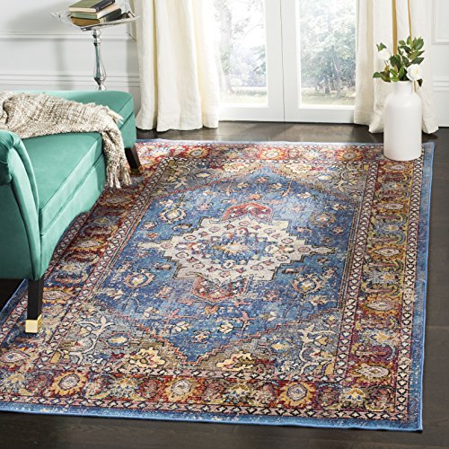 Safavieh Harmony Collection HMY404R Blue and Rose Area Rug (5' x 8')