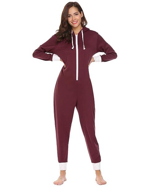 Amazon.com  Ekouaer Family Pajamas Hooded One Piece Coupe Pajamas ... 0b81abda95
