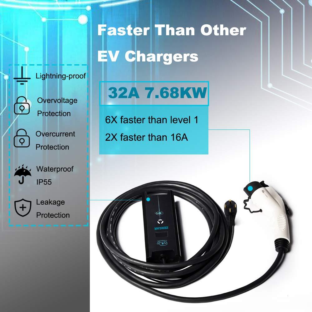Zencar 32A EV Charger Level 2, NEMA14-50 16ft 220V-240V Portable EV Charging Station, Electric Vehicle Charger Compatible with Chevy Volt, Nissan Leaf, Fiat, Ford Fusion by Zencar (Image #3)