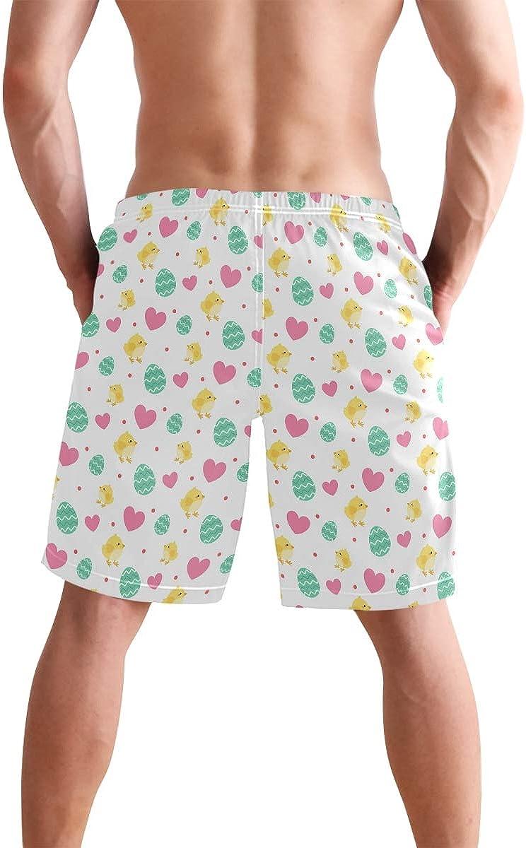 KGuanJi Easter Pattern Egg Chick Heart White Swim Trunks Quick Dry Casual Polyester Shorts
