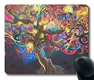 """Trippy Tree Rectangle Oblong Mouse Pad Design Mousepad in 220mm*180mm*3mm (9""""*7"""") -81948"""