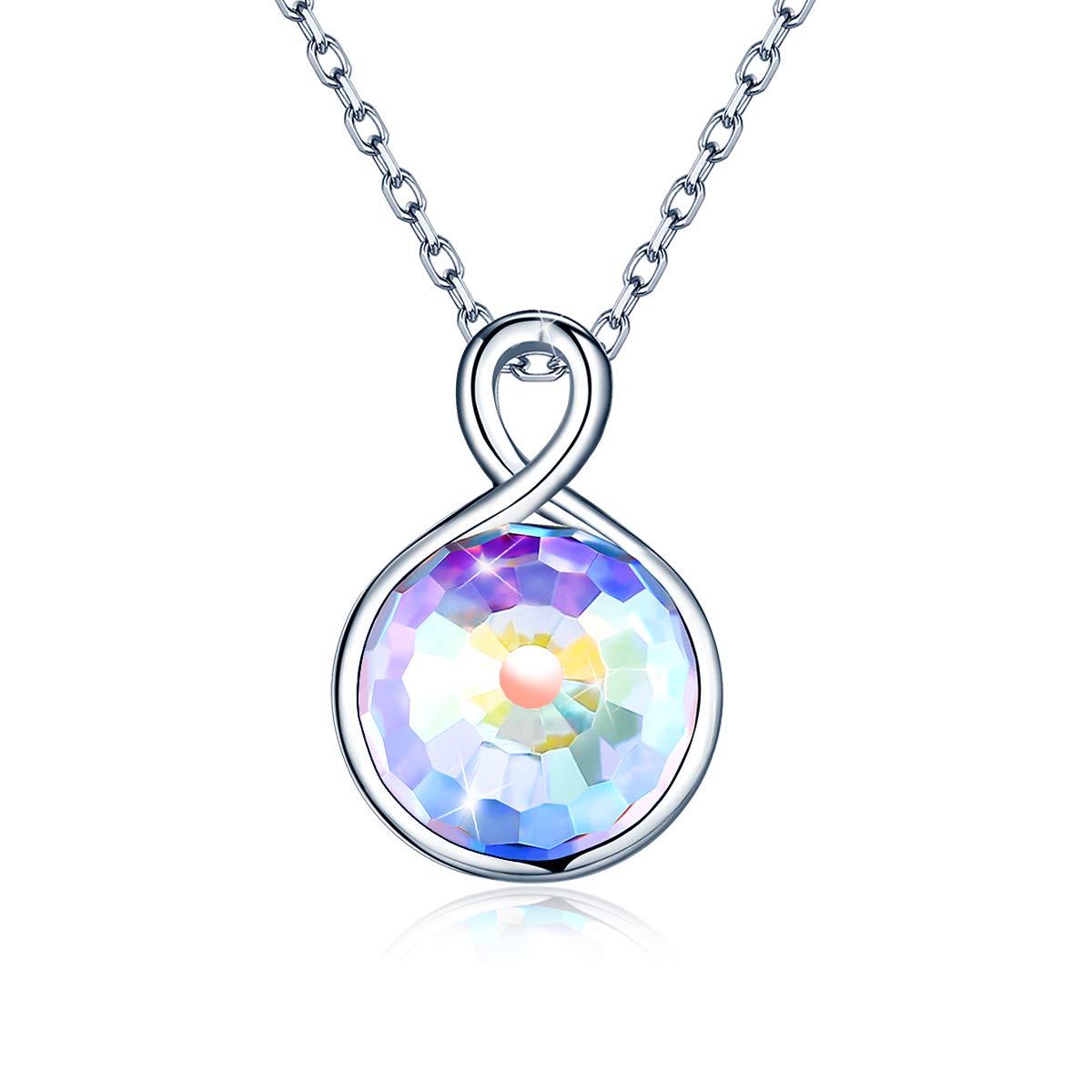 d8da722a1e1aa Infinity Love Cristaux Collier, 925 Sterling Silver Amour Infini Amour  Femmes Pendentif Collier Valentin Anniversaire Cadeaux ...