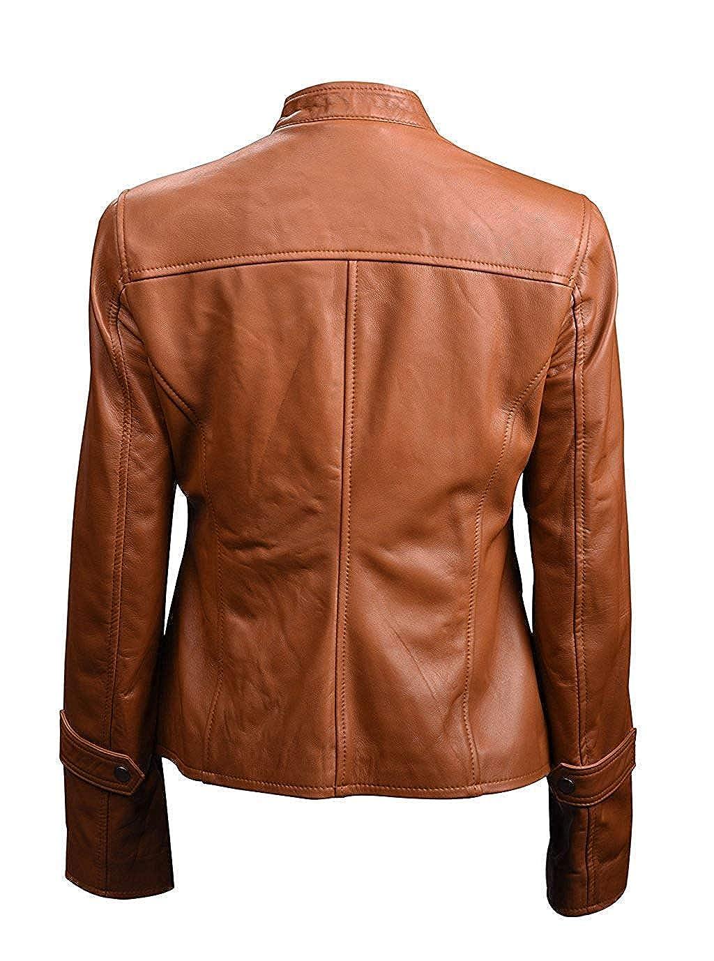 Womens Missy Franklin Biker Slim Fit Tan Brown Real Leather Jacket