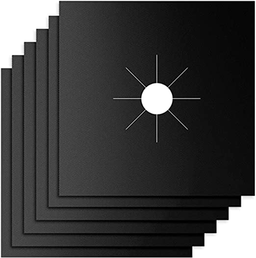 """Stove Burner Covers,Gas Stove Burner Liners,0.3 MM Double Thickness,Non-stick Reusable Gas Range Stove Top Covers for Kitchen,Cuttable,Easy to Clean,Black,Size 10.6/"""" x 10.6/"""",8-Pack"""