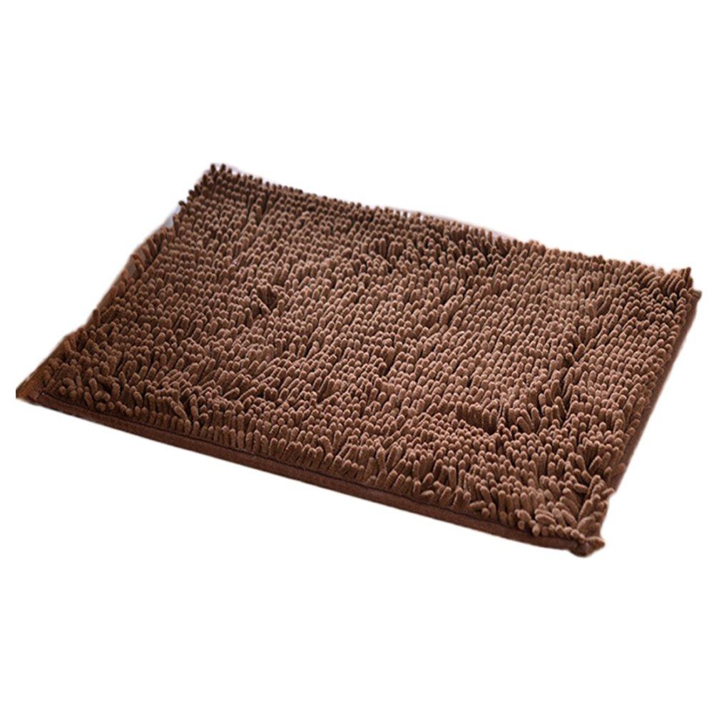 CHUANGLI Soft Shaggy 16 x 24 Inch Non-slip Microfiber Shag Bathroom Rugs Bath Mats Shower Rug Coffee
