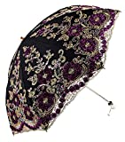 Apiidoo Twice Folding Gothic Umbrella 3D Flowers Embroidery Lace Sun UV Parasol Black Review