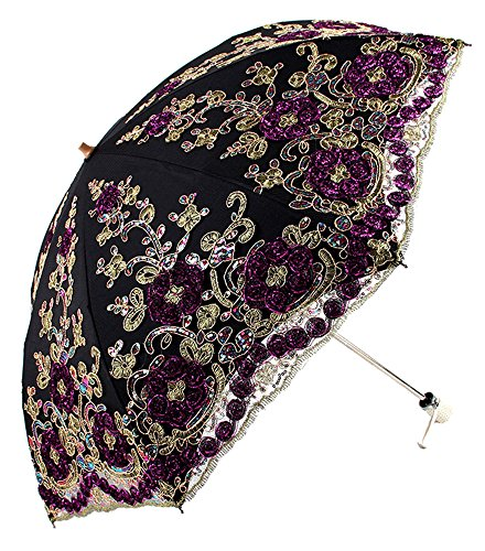 Apiidoo Twice Folding Gothic Umbrella 3D Flowers Embroidery Lace Sun UV Parasol Black