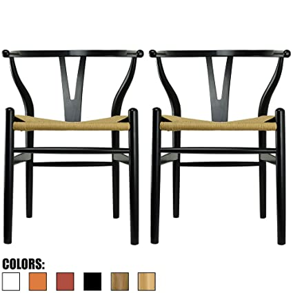 2xhome Set Of Two (2)   Black   Wishbone Wood Arm Chair Armchair Modern