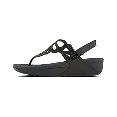 baf25f544bf3 Amazon.com  FitFlop Women s Bumble Crystal Back-Strap Sandals Black Size 7   Clothing