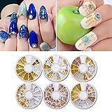 MEILINDS Nail Art DIY Metal Beads Decoration Wheel Salon Nail Sequins Studs Tips 6Pcs