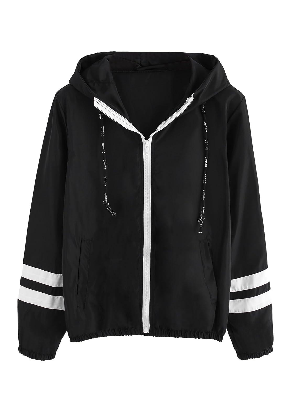 Black SweatyRocks Women's Casual Sport colorblock Drawstring Hooded Windbreaker Jacket